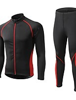 cheap -Men's Long Sleeve Cycling Jersey with Tights Winter Fleece Polyester Black Red Blue Patchwork Bike Clothing Suit Thermal / Warm Waterproof Windproof Fleece Lining Breathable Sports Patchwork Mountain