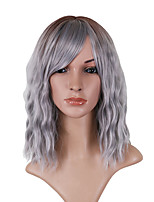 cheap -Synthetic Wig Loose Curl Asymmetrical With Bangs Wig Medium Length Grey Synthetic Hair 14 inch Women's Comfortable Exquisite Fluffy Dark Gray