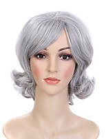 cheap -Synthetic Wig Curly Asymmetrical With Bangs Wig Short Silver grey Synthetic Hair Women's Fashionable Design Exquisite Fluffy Silver