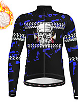 cheap -21Grams Men's Long Sleeve Cycling Jacket Winter Fleece Polyester Black Orange Skull Funny Bike Jacket Top Mountain Bike MTB Road Bike Cycling Thermal Warm Fleece Lining Breathable Sports Clothing