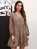 cheap -Women's A-Line Dress Short Mini Dress - Long Sleeve Leopard Ruffle Fall V Neck Elegant 2020 White Camel Brown S M L XL