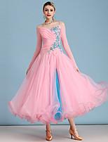 cheap -Ballroom Dance Dress Appliques Crystals / Rhinestones Women's Performance Long Sleeve High Spandex Organza Tulle