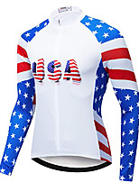 cheap -21Grams Men's Long Sleeve Cycling Jacket White National Flag Bike Jersey Top Mountain Bike MTB Road Bike Cycling UV Resistant Breathable Quick Dry Sports Clothing Apparel / Stretchy