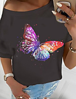 cheap -Women's T-shirt Butterfly Print Round Neck Tops Basic Basic Top Black Purple Wine