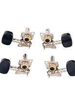 cheap -NAOMI Ukulele Tuning Pegs Open Gear Chrome Plated Steel Black Machine Heads 2L&2R 4 Strings Tuner Ukulele Parts & Accessories