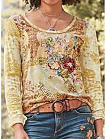 cheap -Women's T-shirt Floral Flower Long Sleeve Print Round Neck Tops Loose Basic Boho Basic Top Yellow