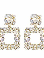 cheap -sparkly rhinestone square dangle earrings, geometric drop statement fashion earrings for women  collection