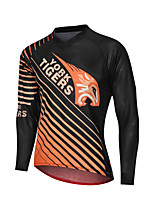 cheap -YORK TIGERS Men's Long Sleeve Cycling Jersey Downhill Jersey Black / Orange Stripes Tiger Bike Tee Tshirt Sports Clothing Apparel / Advanced / Micro-elastic