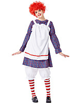 cheap -Clown Cosplay Costume Outfits Adults' Women's Cosplay Vacation Dress Halloween Halloween Festival / Holiday Polyester White Women's Easy Carnival Costumes / Pants / Apron / Pants / Apron