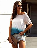 cheap -Women's T-shirt Color Gradient Patchwork One Shoulder Tops Loose Basic Basic Top Blue Purple Gray