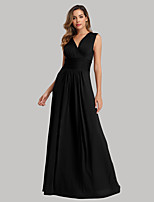 cheap -A-Line Empire Sexy Party Wear Formal Evening Dress V Neck Sleeveless Floor Length Spandex with Ruched 2020
