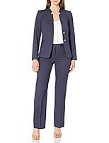 Недорогие -женский пиджак со звездным воротником на 2 пуговицах и брючный костюм, темно-белая полоска, 12