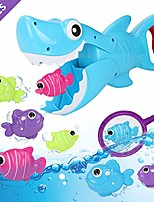 cheap -bath toys, shark grabber baby bath toy set bathtub toy, great white shark toy with teeth biting action with pole rod net&8 floating fish