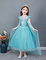 cheap -Princess Dress Cosplay Costume Girls' Movie Cosplay Vacation Dress Halloween Blue Dress Halloween Carnival New Year Polyester / Cotton