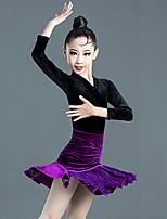 cheap -Latin Dance Skirts Side Draping Ruching Gore Girls' Training Performance Long Sleeve Velvet Polyester