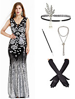 cheap -The Great Gatsby Vintage 1920s Vacation Dress Flapper Dress Outfits Masquerade Women's Costume Black Vintage Cosplay Party Prom / Gloves / Headwear / Necklace / Cigarette Stick / Gloves