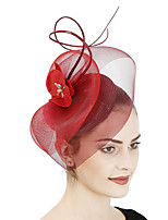 cheap -Queen Elizabeth Audrey Hepburn Retro Vintage 1950s 1920s Kentucky Derby Hat Pillbox Hat Women's Tulle Costume Hat Red / Yellow / Light Purple Vintage Cosplay Party Prom