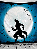 cheap -Halloween Wall Tapestry Art Decor Blanket Curtain Picnic Tablecloth Hanging Home Bedroom Living Room Dorm Decoration Psychedelic Wolf Bat Witch Haunted Scary Polyester