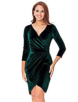 cheap -women's sexy v-neck green velvet bodycon wrap cocktail dress for work casual holiday party