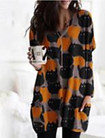 cheap -Women's A-Line Dress Short Mini Dress - Long Sleeve Animal Print Spring Fall Casual Loose 2020 Blue Yellow S M L XL XXL 3XL