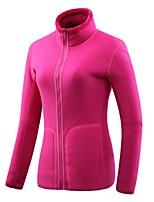 cheap -Women's Hiking Jacket Hiking Fleece Jacket Winter Outdoor Solid Color Windproof Fleece Lining Breathable Warm Jacket Fleece Full Length Visible Zipper Hunting Ski / Snowboard Fishing Purple Red Pink