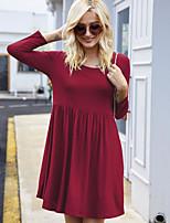 cheap -Women's Sheath Dress Short Mini Dress - Long Sleeve Solid Color Fall Winter Work Casual Slim 2020 Black Purple Wine Army Green Dusty Blue S M L XL XXL 3XL