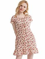 cheap -Women's A-Line Dress Short Mini Dress - Short Sleeve Print Ruffle Ruched Print Summer Casual Lantern Sleeve 2020 Black Blue Beige XS S M L XL XXL