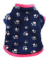 cheap -warm pet dog sweater with paw print soft fleece puppy clothes for small dog boys girls navy