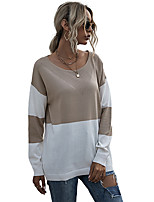 cheap -Women's T-shirt Color Block Long Sleeve Round Neck Tops Basic Basic Top Khaki