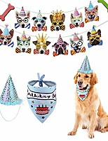 cheap -boy dog birthday party supplies, cone hat with bandana scarfs and banner garland set, cute puppy b-day outfit, doggie barkday pawty decorations (blue)