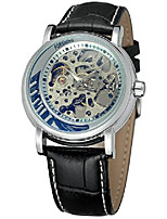 cheap -men's classic steampunk skeleton automatic mechanical stainless steel leather watch