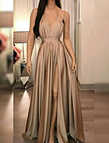 cheap -A-Line Minimalist Sexy Wedding Guest Formal Evening Dress V Neck Sleeveless Floor Length Stretch Satin with Pleats Split 2020