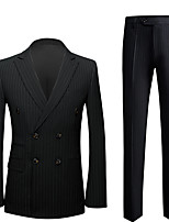 cheap -Tuxedos Standard Fit Peak Double Breasted Six-buttons Polyester Stripes