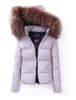 cheap -Women's Padded Parka Solid Colored Faux Leather White S / M / L