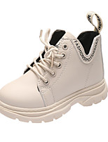 cheap -Boys' / Girls' Boots Combat Boots PU Little Kids(4-7ys) Walking Shoes White / Black / Pink Fall / Winter / Booties / Ankle Boots