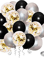 cheap -black and gold confetti balloons, 50 pack 12inch latex gold balloons party balloon set with gold ribbon for graduation wedding birthday decorations
