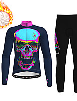 cheap -21Grams Men's Long Sleeve Cycling Jacket with Pants Winter Fleece Polyester Dark Navy Gradient Skull Funny Bike Clothing Suit Thermal Warm Fleece Lining Breathable 3D Pad Warm Sports Gradient