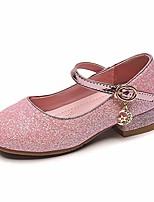 cheap -girls mary jane glitter wedding party dress shoes low heel princess flower strap shoes kids