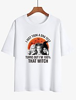cheap -Women's Halloween Witch T-shirt Letter Print Round Neck Tops Loose 100% Cotton Basic Halloween Basic Top White Black Purple