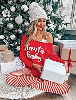cheap -Women's Basic Striped Letter Two Piece Set Crew Neck T-shirt Pant Loungewear Print Tops