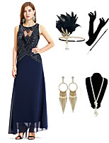 cheap -The Great Gatsby Vintage 1920s Flapper Dress Outfits Masquerade Women's Costume Blue Vintage Cosplay Party Prom / Gloves / Headwear / Necklace / Bracelets & Bangles / Earrings