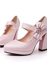 cheap -Women's Heels Wedge Heel Pointed Toe Sweet Daily Bowknot Solid Colored PU White / Blue / Pink