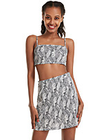cheap -Women's Basic Solid Color Two Piece Set Strap Tank Skirt Patchwork Print Tops / Slim
