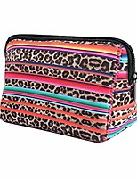 cheap -leopard rainbow makeup bag waterproof soft neoprene travel bag zippered storage pouch printing toiletry bag pencil case organizer