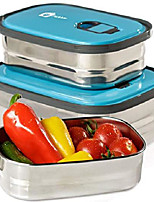 cheap -bento lunch box food container storage set 3 in 1. leak proof stainless steel can with lids. healthy takeaway - kids - adults for outdoor meals. (blue)