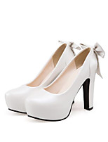 cheap -Women's Heels Pumps Round Toe Daily Bowknot Solid Colored PU Walking Shoes White / Blue / Pink