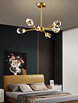 cheap -6 Head Nordic Simple Living Room Ceiling Light Chandelier Post Modern Luxury Element Crystal Lamp Dining Room Bedroom Study Room