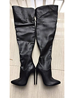 cheap -Women's Boots Stiletto Heel Pointed Toe Casual Basic Daily Solid Colored PU Over The Knee Boots Walking Shoes Black