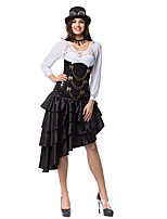 cheap -Pirate Victorian Steampunk Skirt Women's Flounced Asymmetric Hem Costume Dark Brown / Black Vintage Cosplay Halloween Masquerade Festival Asymmetrical / Skirts