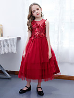 cheap -A-Line Crew Neck Ankle Length Lace / Tulle Junior Bridesmaid Dress with Bow(s) / Tier